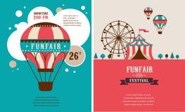 Weinleseplakat mit Karneval, Spaßmesse, Zirkus Stockfotografie
