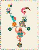 Weinleseplakat mit Karneval, Spaßmesse, Zirkus Lizenzfreies Stockbild