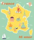 Weinleseplakat von Frankreich mit verschiedenen Reisezielen und Marksteinen Lizenzfreies Stockbild