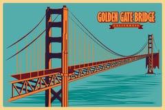 Weinleseplakat von Golden gate bridge in berühmtem Monument Kaliforniens in Vereinigten Staaten Stockbild
