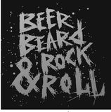 Weinleseplakatbier, -bart und -Rock rollt - einzigartige Hand gezeichnete Beschriftung Lizenzfreie Stockfotografie