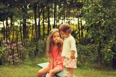 Weinleseporträt von den netten kleinen Mädchen, die Spaß am Sommertag haben Stockfotografie