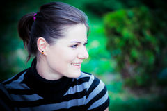 Weinleseportrait der jungen Frau Stockbild