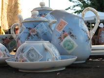 Weinleseporzellan-Teesatz Stockbild