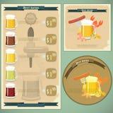 Weinlesepostkarte, Abdeckungmenü - Bier, Bierimbiß Stockbild