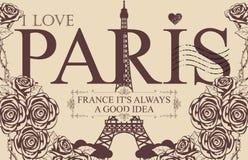 Weinlesepostkarte mit dem Eiffelturm und den Rosen lizenzfreie abbildung