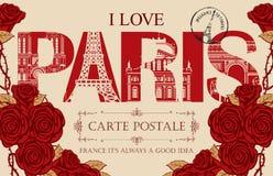 Weinlesepostkarte mit Liebe Paris der Wörter I vektor abbildung