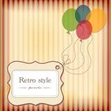 Weinlesepostkarte mit Marke und Ballonen. Stockfoto