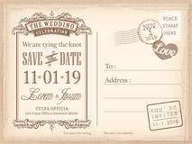 Weinlesepostkartenabwehr der Datumshintergrund für Heiratseinladung Stockfotos