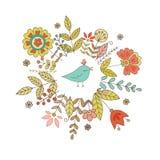 Weinleserahmen für Ihr Design mit Vogel und Blumen Stockbild