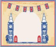 Weinleserahmen mit Big Ben in London lizenzfreie abbildung