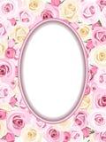 Weinleserahmen mit den rosa und weißen Rosen. lizenzfreie abbildung