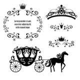 Weinleserahmen mit Krone, dekorativem Artdiadem und Wagen lizenzfreie abbildung