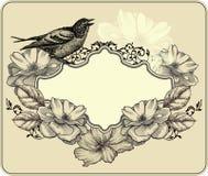Weinleserahmen mit Vogel und blühenden Rosen. Vektor Lizenzfreie Stockbilder