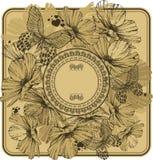 Weinleserahmen mit wilden Blumen und Schmetterlingen Vektor illustra Lizenzfreie Stockbilder