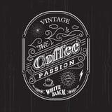 Weinleserahmengrenzkaffeeaufkleberdesign-Ausweiselemente Lizenzfreie Stockfotos