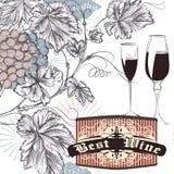 Weinleserebplakattrauben und -gläser Lizenzfreie Stockfotos