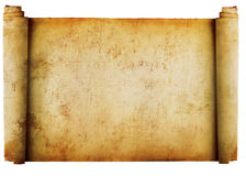 Weinleserolle des Pergamenthintergrundes getrennt auf w Stockfotografie