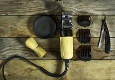 Weinlesesatz des Friseurs Stockbild