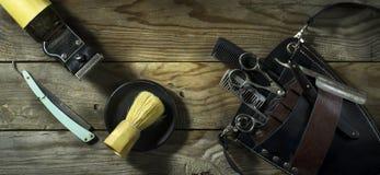 Weinlesesatz des Friseurs Stockfotografie