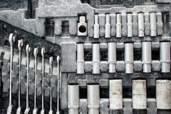 Weinlesesatz justierbare metallische Schlüssel für Automobilindustrie Stockfoto