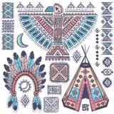 Weinlesesatz Symbole des amerikanischen Ureinwohners Stockbild