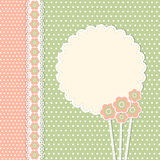 Weinleseschablone mit Blumen Stockbild