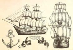 Weinleseschiff Einzelteile auf dem Marinethema Stockfotografie