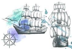 Weinleseschiff Einzelteile auf dem Marinethema Stockbilder