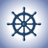 Weinleseschiffsrad Schiffszusammenfassungsschönheits-Vektoremblem lizenzfreie abbildung