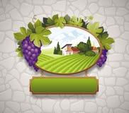 Weinleseschild mit Trauben Stockbild