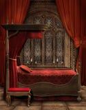 Weinleseschlafzimmer mit Kerzen Lizenzfreie Stockfotos
