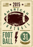 Weinleseschmutz-Artplakat des amerikanischen Fußballs typografisches Retro- vektorabbildung Stockbilder