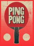 Weinleseschmutz-Artplakat Ping Pongs typografisches Retro- vektorabbildung lizenzfreie abbildung