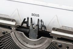 Weinleseschreibmaschine mit Zahlen neuen Jahres 2015 Lizenzfreies Stockbild