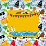 Weinleseschrott-Seekarte mit Rahmen, Anker und Muster mit Seetieren, Bootspiraten Stockfoto