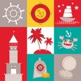 Weinleseschrott-Seekarte und nahtloses Muster mit Seetieren, Boote, Leuchtturm nettes Meer wendet Sammlung ein Vektor Lizenzfreie Stockbilder