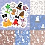 Weinleseschrott-Seekarte und nahtloses Muster mit Seetieren, Bootspiraten Vektor Stockfotografie