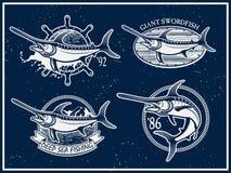 Weinleseschwertfisch-Hochseefischereiembleme Stockfotos