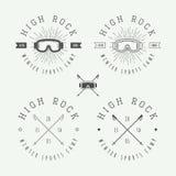 Weinlesesnowboarding- oder -wintersportlogos, Ausweise, Embleme Lizenzfreies Stockfoto