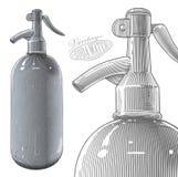 Weinlesesodaflasche in gravierter Art Stockbild