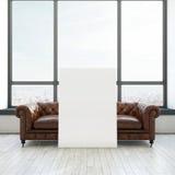 Weinlesesofa und weißes Plakat Stockbilder