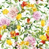 Weinlesesommerblumen, Blätter, Kräuter Wiederholen des Blumenhintergrundes watercolor stock abbildung