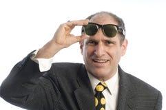 Weinlesesonnenbrilleportrait des Geschäftsmannes Retro- Stockbilder