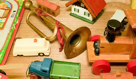 Weinlesespielwaren Spielwaren für Jungen Retro- Spielwaren Lizenzfreie Stockfotos