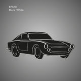 Weinlesesportwagenvektor-Illustrationsikone Europäisches klassisches Automobil Stockfoto