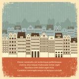 Weinlesestadtbild mit Gebäuden. Retro- Hintergrund  Lizenzfreies Stockfoto