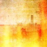 Weinlesestadtskyline in den roten und gelben Tönen Feuer-Effekt Stockfotos