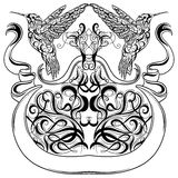 Weinlesetätowierungs-Kunstdesign mit Kolibri, dekorativen Kalligraphieelementen und Bandfahne Viktorianisches Motiv Lizenzfreie Stockbilder