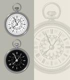 Weinlesetaschenuhr - Uhrvektorillustration Stockfotos